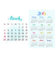 colorful planner 2018 march separately vector image vector image