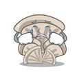 crying oyster mushroom mascot cartoon vector image vector image