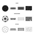 design of soccer and gear sign set of vector image
