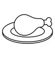 dish with thigh chicken meat icon vector image vector image