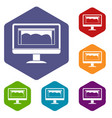 drawing monitor icons set hexagon vector image vector image