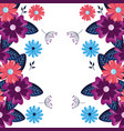 flowers border leaves vector image vector image