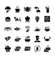 glyph restaurant and food icons vector image vector image
