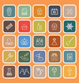 halloween line flat icons on orange background vector image