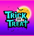 halloween trick or treat message on moon design vector image vector image