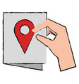 hand with paper and pin location vector image