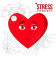 heart covered in spiderweb cobwebs stress concept vector image
