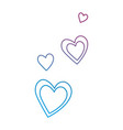 hearts flying decorative icons vector image