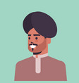 indian man wearing turban guy in traditional vector image