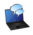 laptop with speech bubble vector image vector image