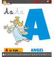 letter a from alphabet with cartoon angel