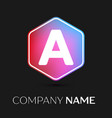 Letter a logo symbol in colorful hexagonal