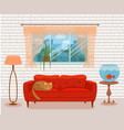 living room cozy interior with colorful sofa vector image