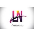 ln l n purple letter logo with swoosh design vector image vector image