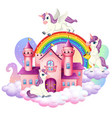 many cute unicorns cartoon character with castle vector image