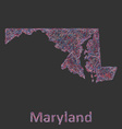 Maryland line art map vector image vector image