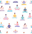 meditation people pattern women men doing yoga vector image vector image