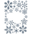 merry christmas and happy new year snowflakes vector image