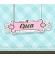 Open sign hanging on pink badge with blue vector image