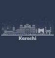 outline karachi pakistan city skyline with white vector image vector image