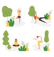 people do yoga activity in summer city park set vector image vector image