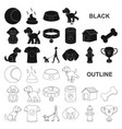 pet dog black icons in set collection for design vector image vector image