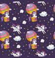 seamless pattern cute unicorns in sky vector image