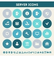 Server icon set Multicolored flat buttons vector image