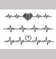 set black cardiogram lines isolated on white vector image vector image