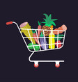 shopping carts with fresh vegetables vector image