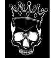 skull and crown in black background vector image vector image