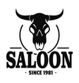 skull saloon logo simple style vector image