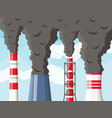 smoking factory pipes against clear sky with cloud vector image