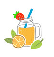 smoothie jar with fruits and berries vector image vector image
