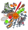 Sporting goods basketball ball sneakers racket vector image