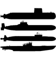 submarine silhouettes vector image vector image
