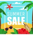 Summer Sale Card with palms and hibiscus flowers vector image vector image