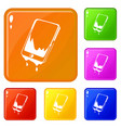 water smartphone icons set color vector image vector image