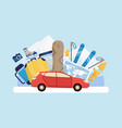 winter holiday trip poster - red car loaded with vector image vector image