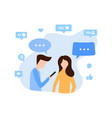 young man and woman communicate via internet app vector image vector image