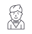 waiter line icon sign on vector image