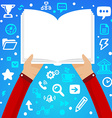 Bright male hand holds open book on a blue b vector image