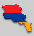 3d isometric map armenia with national flag vector image