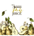 background with hand drawn pears vector image vector image