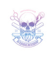 barbershop logo with angry skull vector image vector image