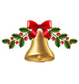 bell with holly berry vector image