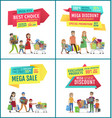 best choice and mega sale discount ad banners set vector image vector image