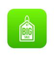big sale tag icon digital green vector image vector image