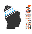 brain shower icon with love bonus vector image vector image