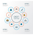 business icons colored line set with bag bar vector image vector image